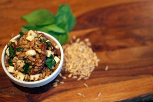 Honey Dijon Farro Salad with Sun-dried Tomatoes, Fontina Cheese, Flat Leaf Parsley