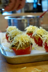 Gruyere and Caramelized Leek Couscous Stuffed Tomato with Porcini Mushrooms and Fennel