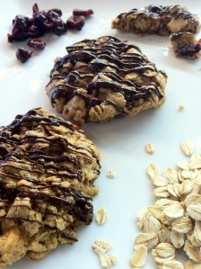 Gluten-free cranberry & double chocolate rolled oat cookies...nom nom nom