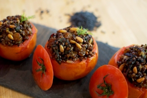 Black Lentil and Chard Stuffed Tomato