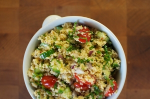 Chilled Couscous Salad with Kale and Cucumber
