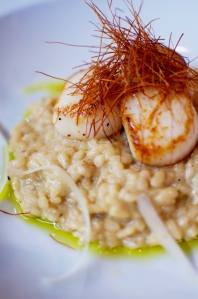 Seared Scallops with D'allesandro Foods Porcini Risotto